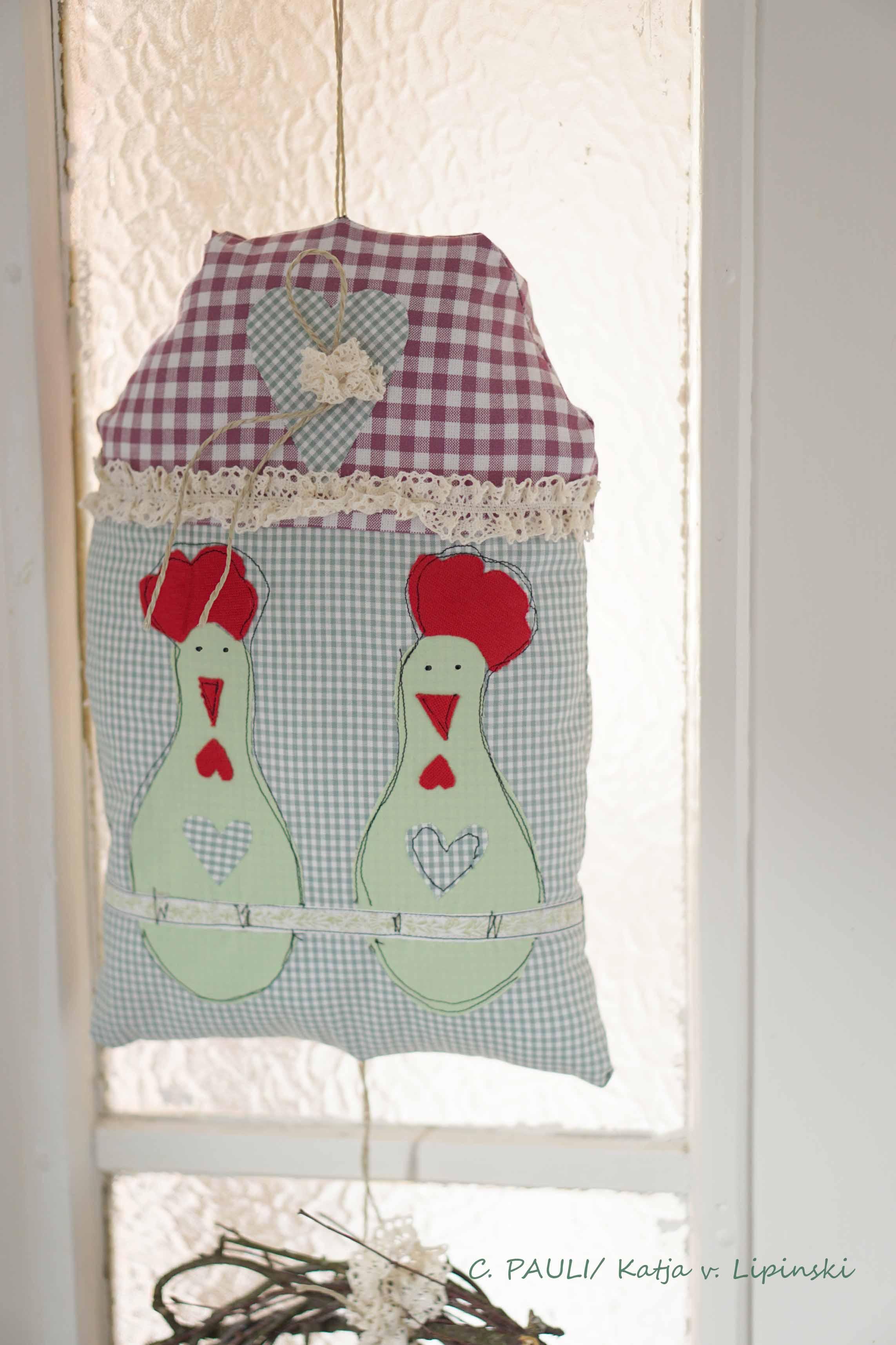 Nähblog Wir Nähen Einen Türhänger Mit Hühnern Kranz Und Herzen C