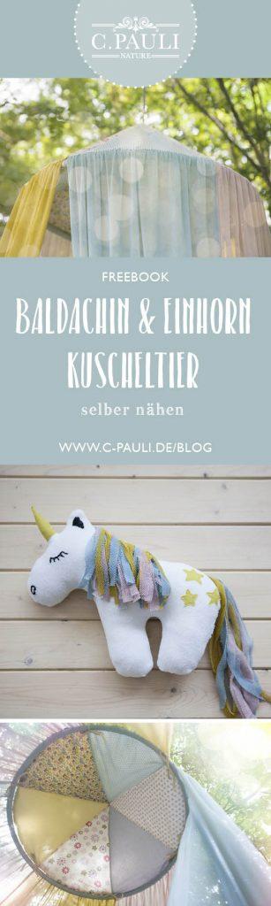 Baldachin aus Tüll und Popelin plus Einhorn Schmusetier | C.Pauli ...