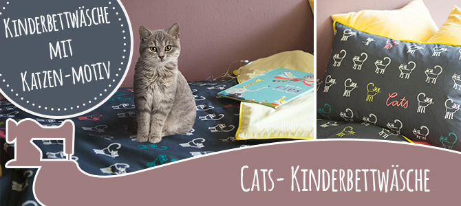 Kinderbettwäsche Cats selber nähen mit Tutorial