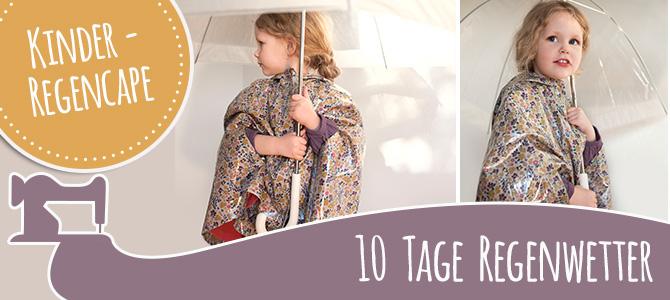 Kinder-Regencape aus beschichteter Baumwolle mit kostenlosem Schnitt und Anleitung