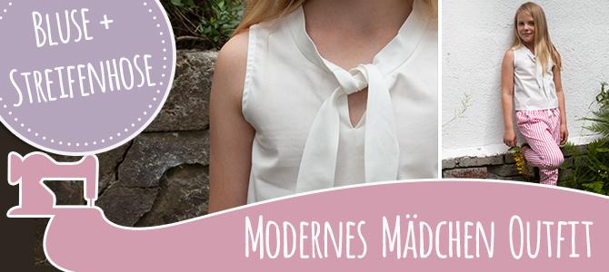 Modernes Mädchen Outfit – Bluse und Streifenhose