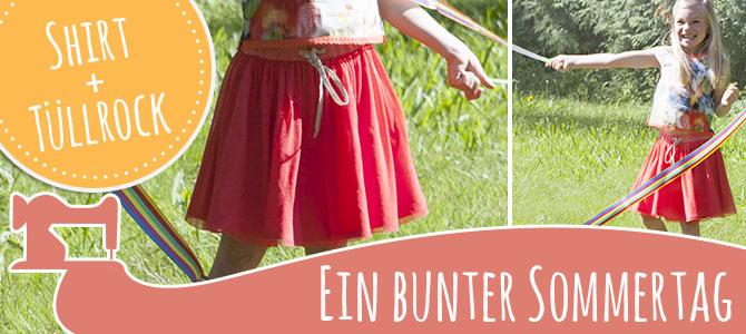 Bunt in den Sommer – Mädchenshirt Bea und Tüllrock