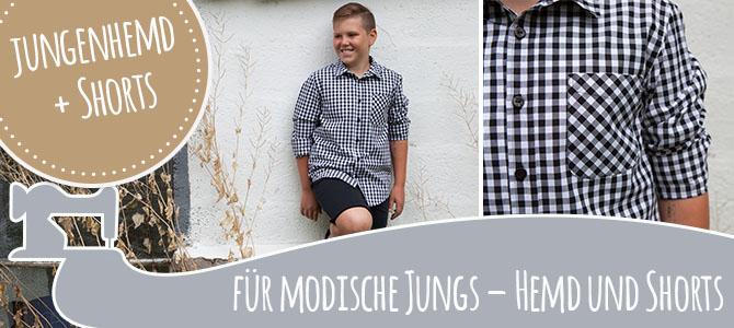 Karohemd und Sweat Shorts für modische Jungs