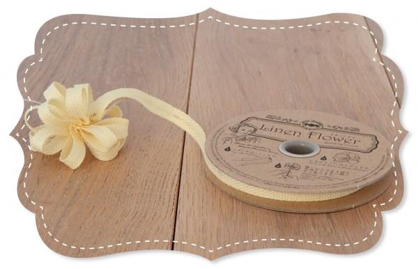 Leinen Ziehband gelb 8mm für Stoffblumen
