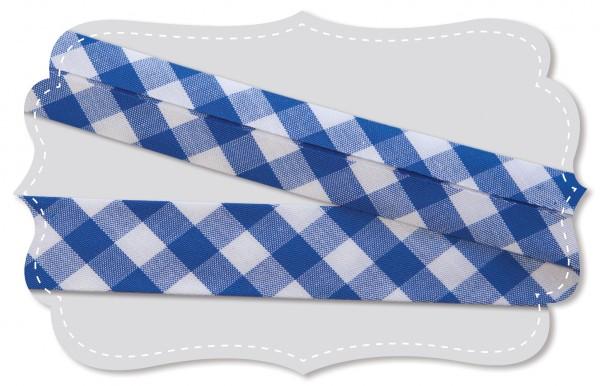Schrägband - Bio-Baumwollstoff - Webkaro - nautical blue/weiß