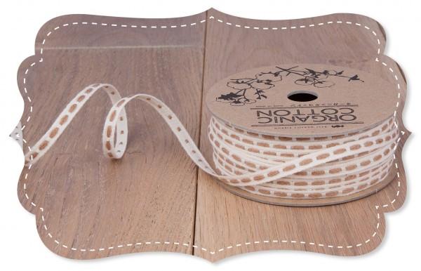 Bio-Baumwoll Band mittig bestickt braun