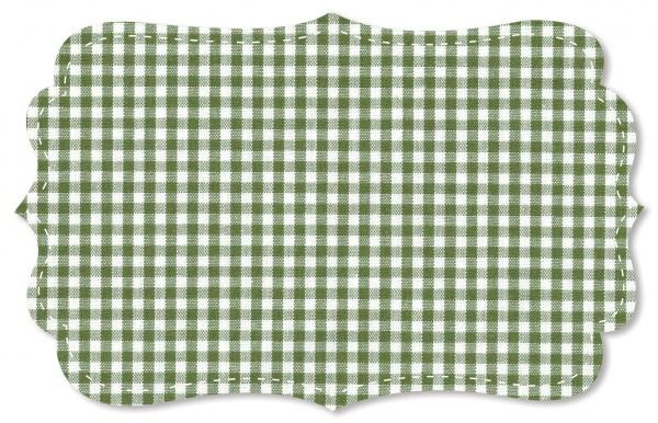 Popeline fein Stoff - kleines Webkaro - cedar green/weiß