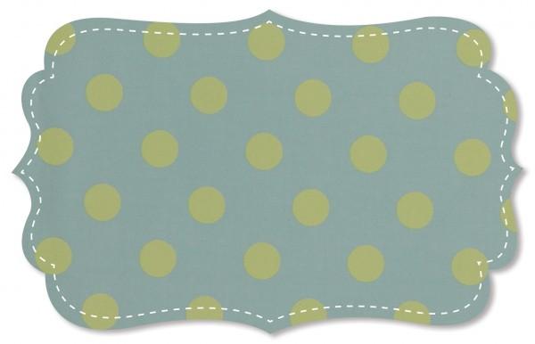 Popeline fein Stoff - große Punkte - cloud blue/mellow green
