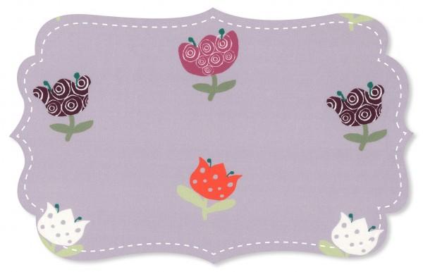 Popeline fein Stoff - Zauberblumen violet