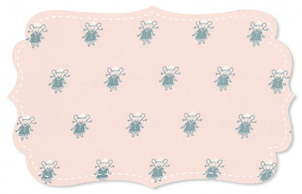 Interlock Stoff - Mäuse Mädchen peach blush