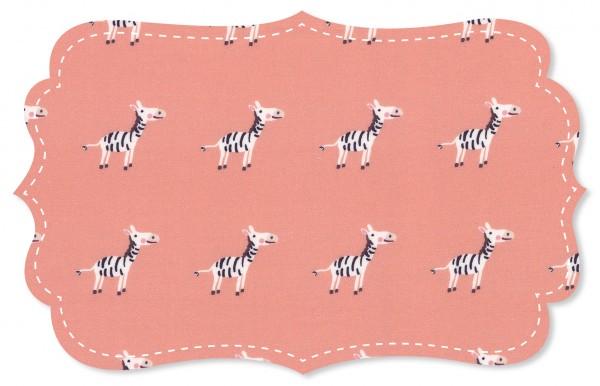 Batist Stoff - Zebras rosa