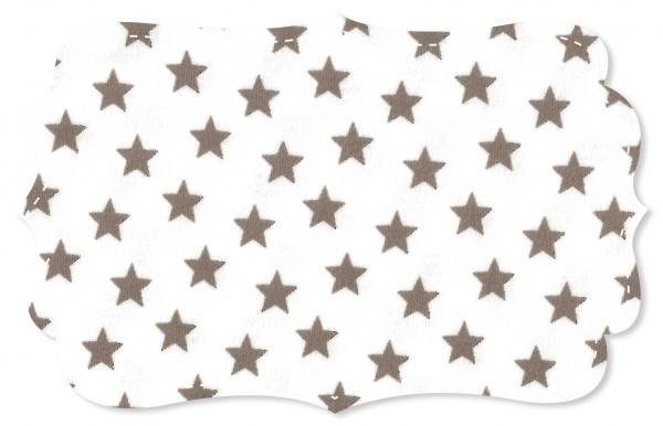 Interlock Stoff - Sterne weiß/cinder