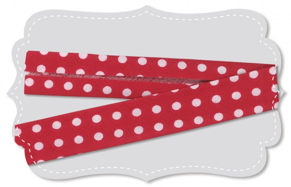 Schrägband - Bio-Baumwollstoff - mittelgroße Punkte - tango red