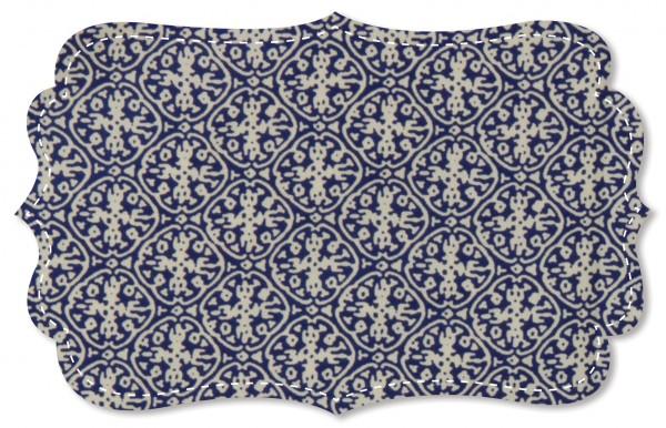 Popeline fein Stoff - Ornamente blau