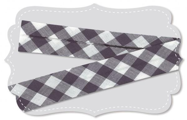 Schrägband - Bio-Baumwollstoff - Webkaro - india ink/weiß