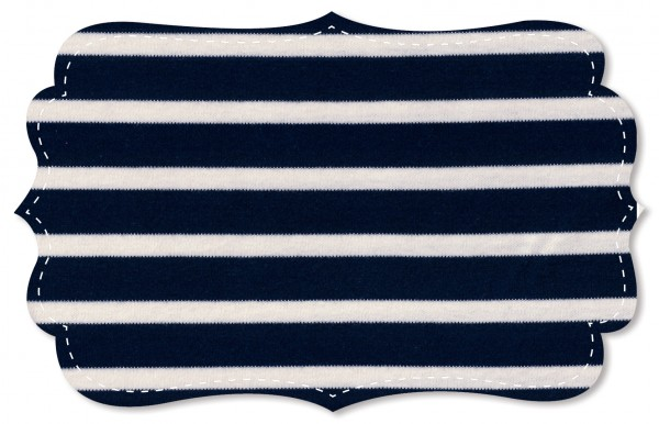 Interlock Stoff - Ringel - navy blazer/natur