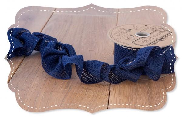 Leinen Ziehband blau 40mm für Stoffblumen
