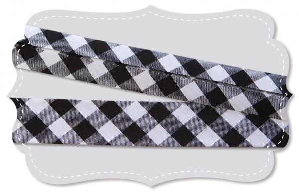 Schrägband - Bio-Baumwollstoff - Webkaro - black/weiß