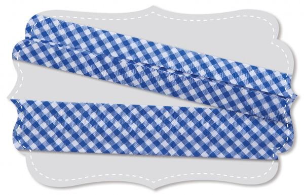 Schrägband - Bio-Baumwollstoff - kleines Webkaro - nautical blue/weiß