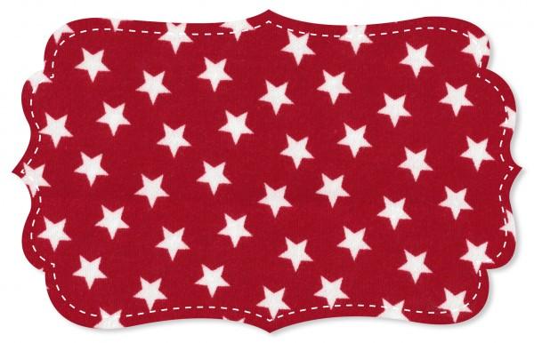 Interlock Stoff - Sterne tango red/weiß