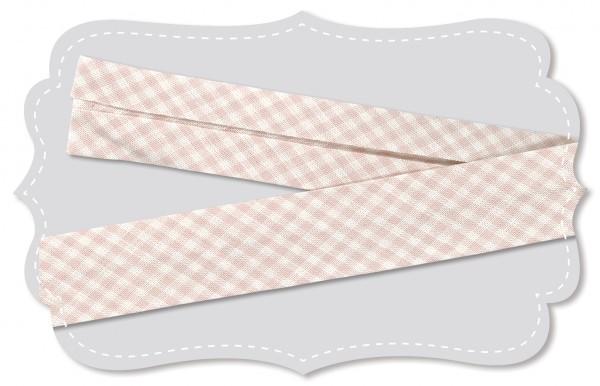 Schrägband - Bio-Baumwollstoff - kleines Webkaro - peach blush/weiß