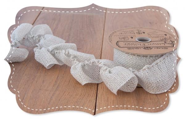Leinen Ziehband silber 40mm für Stoffblumen