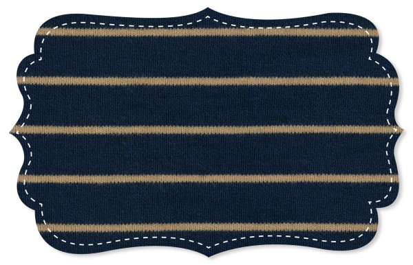 Interlock Stoff - Ringel - navy blazer/tan