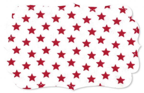 Interlock Stoff - Sterne weiß/tango red