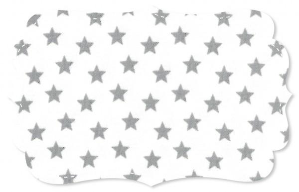 Interlock Stoff - Sterne weiß/alloy grey