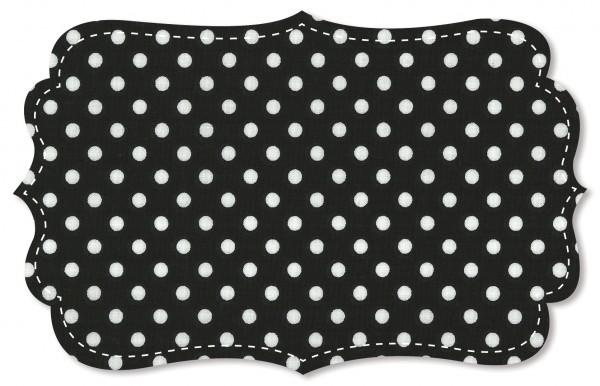 Popeline fein Stoff - mittelgroße Punkte - jet black/weiß