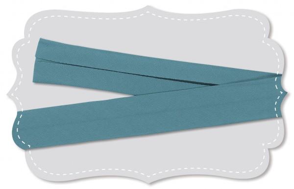 Schrägband - Bio-Baumwollstoff - uni - stone blue