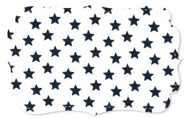 Interlock Stoff - Sterne weiß/navy blazer
