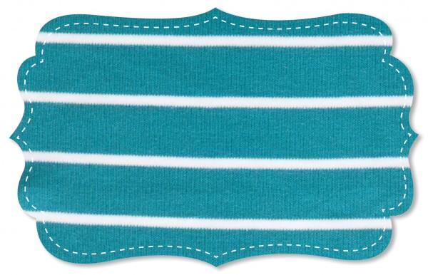 Interlock Stoff - Ringel - pagoda blue/weiß