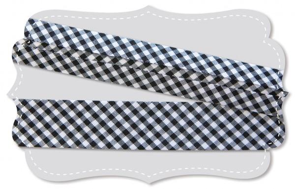 Schrägband - Bio-Baumwollstoff - kleines Webkaro - black/weiß