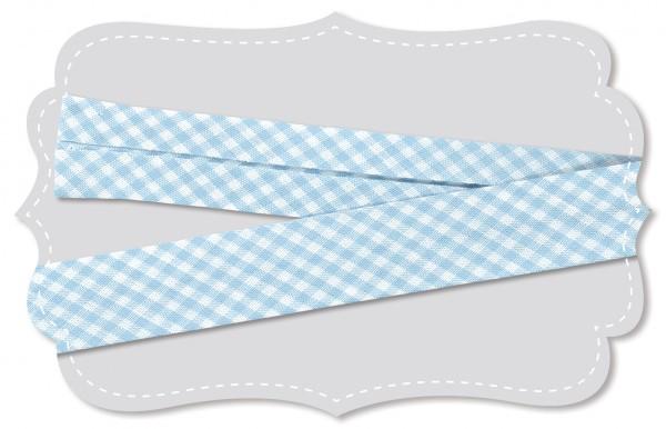 Schrägband - Bio-Baumwollstoff - kleines Webkaro - angel falls/weiß