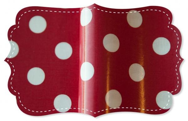 laminierter Stoff - große Punkte tango red/weiss