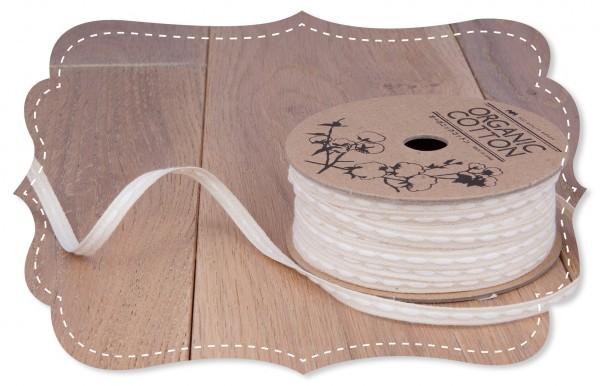 Bio-Baumwoll Band mittig bestickt weiß