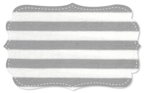 Interlock Stoff - Ringel - alloy grey/weiß