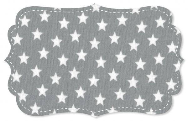 Interlock Stoff - Sterne alloy grey/weiß