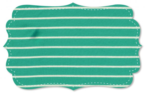 Interlock Stoff - Ringel - sea green/natur